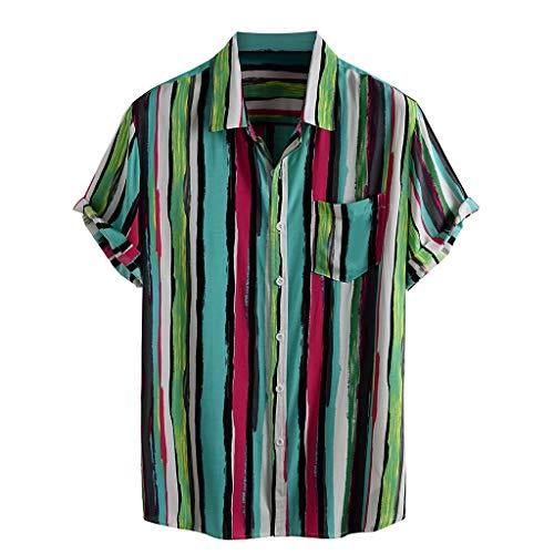 Yowablo Chemises Hommes Rayé Imprimé Col Rabattu Manches Courtes Décontracté (XL,6Vert)