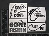 Fishing Sayings Decals 4 Pack: Keep It Reel, Gone Fishing, I'd Rather Be Fishing, Bite Me (Fishing Black)
