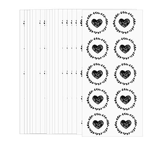 250 Pcs Clear Round Stickers Black Heart Envolope Seals Labels for Valentine's Grams Transparent Circle Wafer Seal Labels Decorative Presents Labels 1.5 Inch Self Adhesive Labels (Black, 1.5 inch)