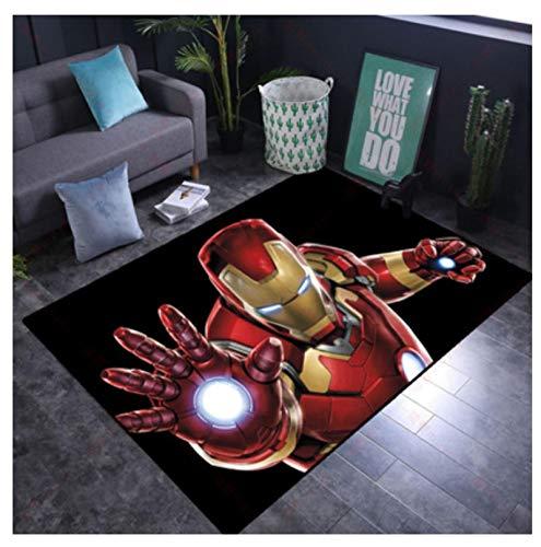 WallDiy Alfombra de Puerta de superhéroe Alfombra de Franela Suave decoración Iron Man Impreso Felpudo de Piso Antideslizante para Cocina Sala Pasillo