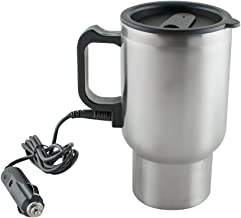 Heated Travel Mug for Vehicle, Ixaer Auto Coffee Thermos Travel Car Charger Coffee Mug Car Heated Cup Vacuum Insulated Stainless Steel Cups for Heating Water with Airtight Lid Auto Charger 12V Coffee