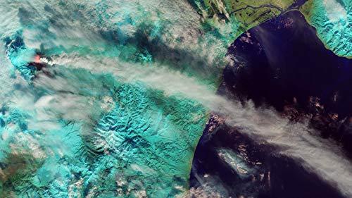 NoNo Puzzle 1000 Stück Holz Ausbrechende Wolke Vulkanmeer Ozean Shisha Kinderspiel Art Decoration Geschenk Landschaft