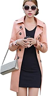 Women Slim Fit Lapel Mid-Length Trench Coat Jacket Double Breasted Outwear with Belt S-5XL Light Pink