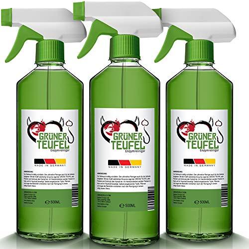 Grüner Teufel - Enzymreiniger 3x 500ml [NEUE VERSION 2020] | Teppichreiniger, Küchenreiniger - Polsterreiniger - Allzweckreiniger | Ideal für Sofa, Auto, Sitze, Polster (1.500 ml)