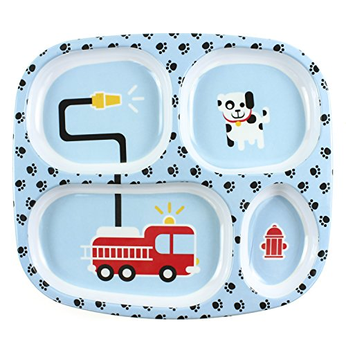 Bumkins Divided Plate, Melamine Tray Plate, Toddler, Kids, BPA Free, Stackable, Dishwasher Safe – Fire Engine