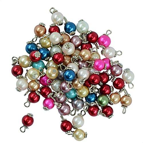 yotijar 50 Piezas de Cristal Perla Flor Encantos Colgantes Collar de Cuentas Hallazgos de Joyería DIY - Plata, Individual