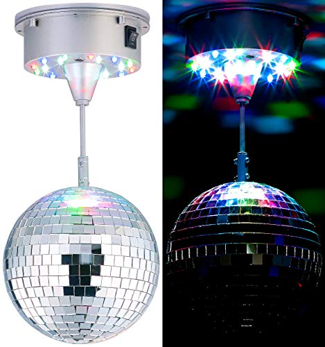 Lunartec Diskokugel: Selbstdrehende Discokugel mit Sockel und 18 farbigen LEDs, Ø 15 cm (Discokugel batteriebetrieben)