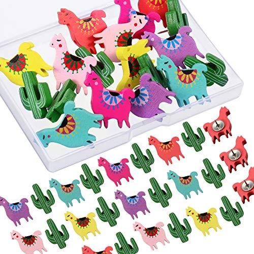 30 Pezzi Perni di Spinta in Legno Puntine Lama Alpaca Cactus Thumb Puntine da Disegno Decorative per Parete Foto, Mappe, Bacheca o Bacheche di Sughero
