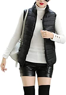 Macondoo Women Puffer Zipper Up Sleeveless Quilted Down Jacket Slim Fit Winter Vest