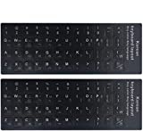 """[2PCS Pack] FORITO Korean Keyboard Stickers on Non Transparent Black Background Black Background with White Lettering for Computer, Each Unit Size: (Width) 0.43"""" x (Height) 0.51"""" (Matte)"""