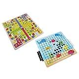 Flying Chess, Five-In-A-Row Interactive Desktop Game Juegos de viaje Juego de escritorio, Juegos de mesa 11.8X11.8X0.2In para viajes en casa Puzzle Juguete de madera