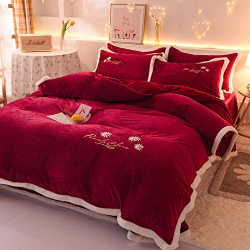 teddy fleece duvet set red,Winter solid color embroidery, thickening and velvet keeping warm, double-sided flannel bed linen and pillowcase, suitable for family hotels, etc.-J_1.8m bed (4 pieces)