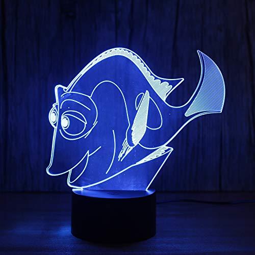 Luce notturna 3D Amazing Magical Reef Fish LED Lampada per illusione ottica, Illuminazione a LED, Lampada per bambini, Lampada per ufficio, Luce creativa, D - Remote Crack White (16 colori)