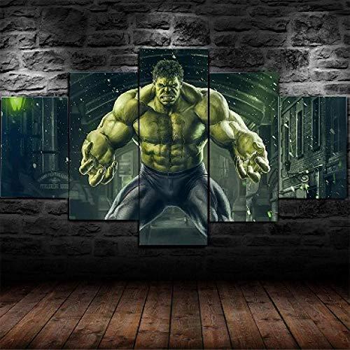 hgjfg Bilder Filme The Avengers Hulk Wandbild 200x100cm Leinwandbild 5 TLG Kunstdruck modern Wandbilder XXL Wanddekoration Design Wandkunst 5 Stücke Leinwand Wohnzimmer Dekoration