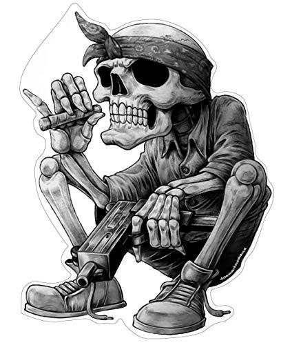 Gangster Hip-Hop Aufkleber XL ca. 30x22 cm Sticker Rap Musik Skelett Skull Schädel Rapper Cool Bandana Zigarre