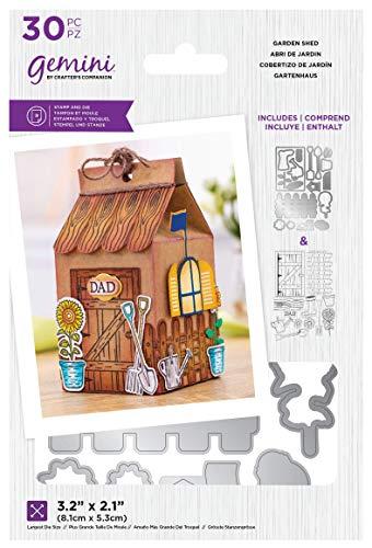 Crafters Companion GEM-STD-GAR Gemini – transparenter Acryl-Stempel und Metall-Stanzschablonen-Set – Gartenhaus, silber, Einheitsgröße