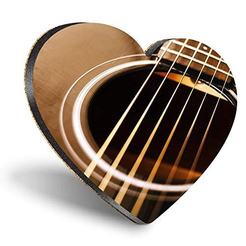 Posavasos con forma de corazón de MDF, guitarra acústica y música de país, de calidad brillante, protección de mesa para cualquier tipo de mesa #21103