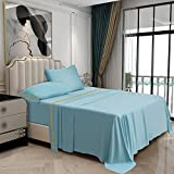 """Bakumon Bamboo Sheets Set Queen Size Bed Sheet Set 4PCs Cooling Sheets Set with 18"""" Deep Pocket Fitted Sheet Luxury Bed Sheet Sets for Queen Bed Hotel Silky Bedding Sheet Breathable Bedsheet-Baby Blue"""