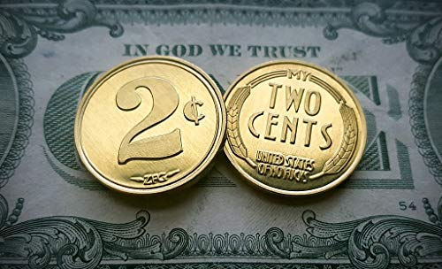 ZFG Inc. Two Cents / My Two Cent Novelty Gag Gift Tradeable Coins, Gold Color, 2-Coins