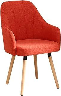 RXBFD chair Sillón Simple de Madera Maciza sofá Silla de Comedor con Respaldo de Lino de algodón tapizado/cómodo Silla ...