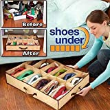 NAMYA Caja de 12 zapatos con tapa transparente, plegable, antihumedad, antipolvo, para debajo de la cama, organizador de almacenamiento