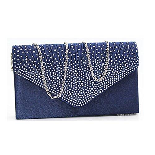 Damen-Clutch mit Strasssteinen, mattiert, Abendtasche, Handtasche, klassisch, Party, Brautschmuck, Clutch, Blau - königsblau - Größe: Einheitsgröße