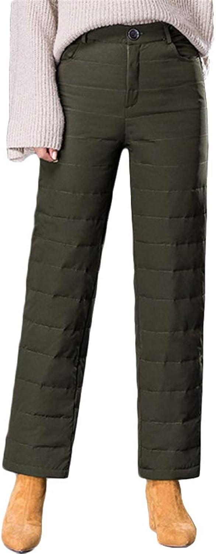 LIVEINU Women's High Waist Thermal Duck Down Pants Cold Weather Elastic Waist Thicken Snow Ski Wide Leg Pants