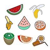 ZSCZQ Bonitos broches de Frutas de Dibujos Animados, Zumo de Verano, plátano, sandía, Naranja, alfileres de Esmalte, Ropa, Pin de Solapa, botón, Insignia, joyería para Mujeres y niños, Kiwi