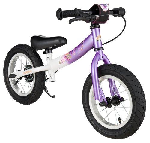 BIKESTAR Laufrad mit Seitenständer und Bremse für Kinder ab 3 Jahren | 30,5 cm (12 Zoll) Sport Edition | Lila & Weiß