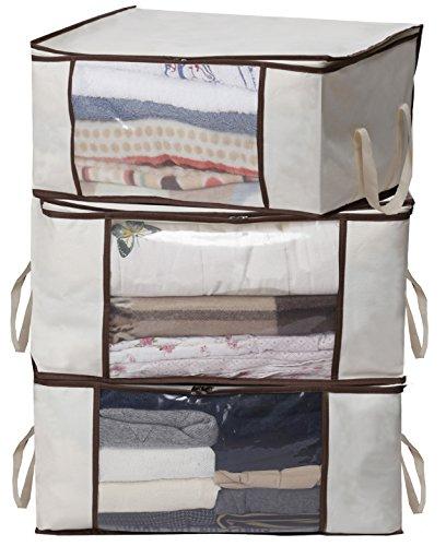 MISSLO Thick Oxford Clothing Organizer Storage Bags for Clothes, Blanket, Comforter, Closet, Medium, 3 Piece Set (Beige)