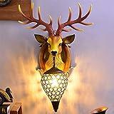 Lámpara De Pared De Cabeza De Ciervo De Cabeza Animal 3D, Estilo Europeo Creativo Retro Chimenea Decoración De La Pared Colgando, Lámpara De Noche En La Sala De Estar Y Dormitorio (Color : Marrón)