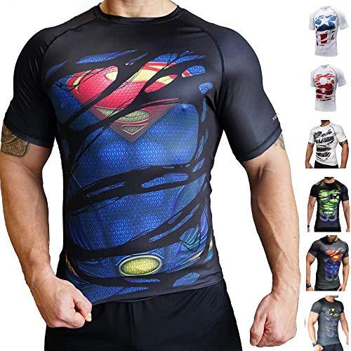 Khroom T-Shirt de Compression de Super-héros pour Homme | Vêtement Sportif à Séchage Rapide pour Fitness, Gym, Course, Musculation (Superman II Noir, L)