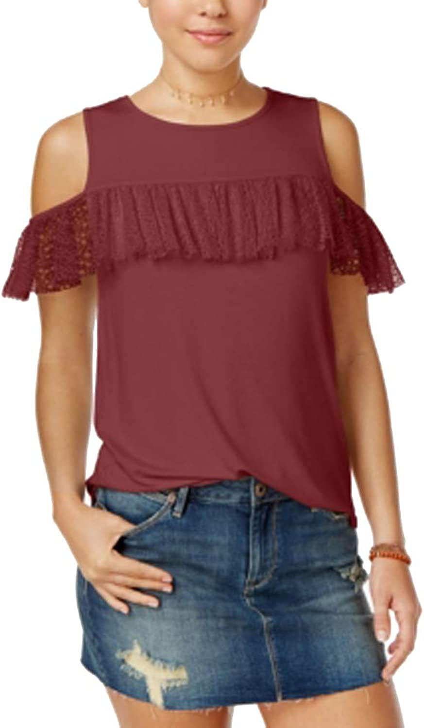 Be Bop Juniors' RuffleTrim ColdShoulder Top