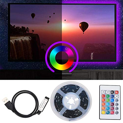 LED-lichtstrip, SMD 5050 2M RGB IP65 Waterdichte Lichtstrip, Decoratieve Lichtstrip met 24 Toetsen, AC 5V voor Plank,TV, Kast, Trap, Woonkamer, Slaapkamer