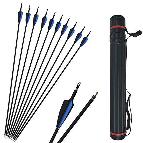 SHARROW 12pcs Freccia di Carbonio 30 Pollici Spine 500 Tiro con L Arco in Carbonio Frecce per Arco Compound Ricurvo (Blu+ faretra Freccia)
