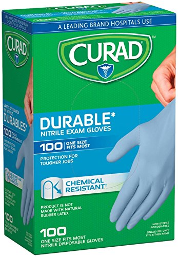 Curad Nitrile Disposable Exam Gloves, Durable and Chemical Resistant, Powder Free, One Size Fits Most (100 Count), Great for First aid, Medical use, Cleaning, pet Care
