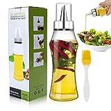 Familybox Bouteille d'huile 400ML en Olive de Distributeur Vinaigre avec Un Anti-Fuite en Acier Inoxycable Boutille d'Huile en Verre avec Brosse pour BBQ/Cuisine/Salade et Assaisonnement