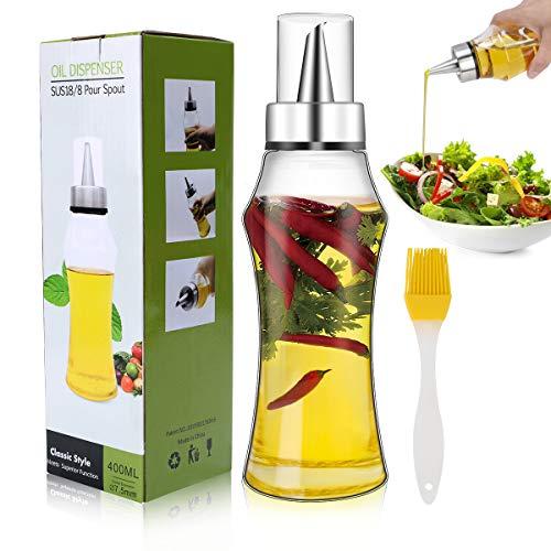 Familybox Ölflasche 400ML,Olivenöl Behälter Premium Essig/Öl Spender aus Edelstahl und Glas, Öl Glasflasche mit Bürstefür Kochenfür BBQ,Kochen,Grillen,Pasta, BPA-Frei, Auslaufsicher