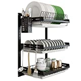 Hanging Dish Drying Rack Wall Mounted Dish Rack,3 Tier ISHARP Kitchen Plate Bowl Spice Organizer Storage Shelf Holder With Drain Tray and 3 Hooks,Stainless Steel Black Coating(3tier)