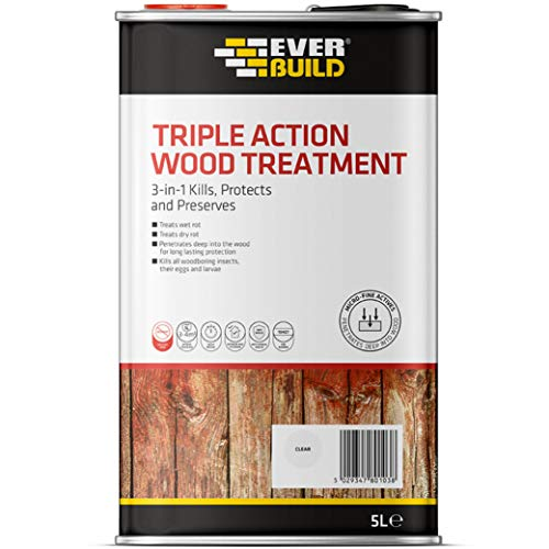 Everbuild Triple Action (Kills, Protects and Preserves) Wood Treatment, Clear, 5 Litre