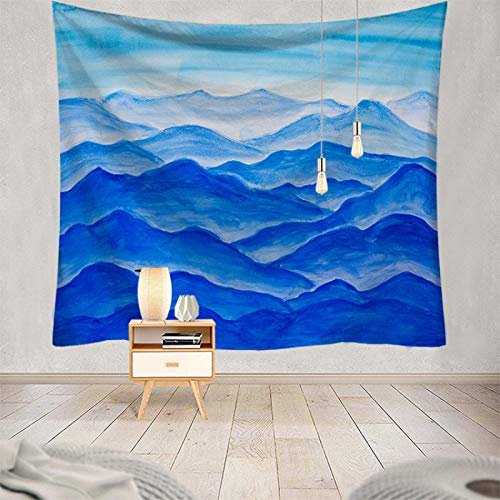 Tapiz De Pared,Indio Hippie Tapices Pico Abstracto De Montaña Azul De Dibujos Animados Indias Trippy Bohemia Colgante De Pared Decoración De Pared Para Dormitorio Sala De Estar Toalla De Playa,90.