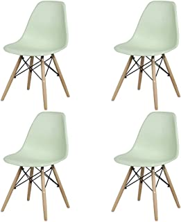 GIA Eames Plastic Armless Chair with Wooden Legs, Green, 4-Pack