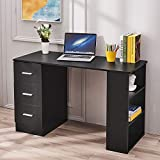Panana Computer Desk, Wood Office Desk Computer Workstation Simple Study Desk Laptop Writing Table with Three Shelves Drawers for Office Home Adult Kids Black