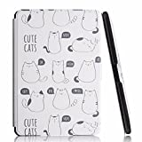 MOCA Fat Cat 300 PPI PU Leather Folio Flip Case Cover with Auto Wake and Sleep for Amazon Kindle Paperwhite 2012, 2013, 2014, 2015