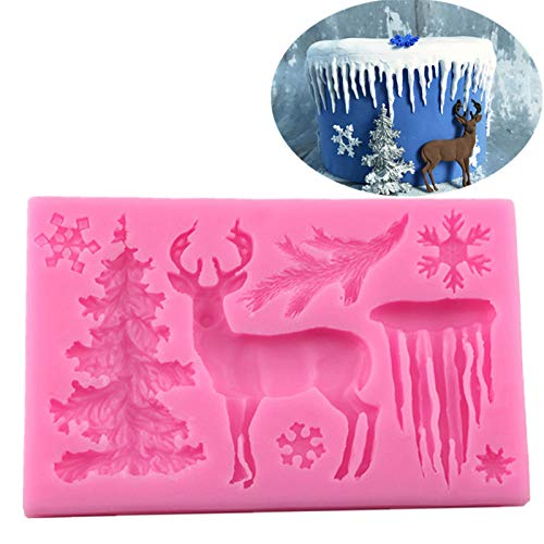 3D Elk Snowflake Tree Fondant Mold Christmas Silicone Mold for Cake Cupcake Decoration (pink)