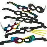 Kratzbild-Brillen - Scratch Art für Kinder zum Basteln ideal ideal zum Fasching und Karneval (12 Stück)