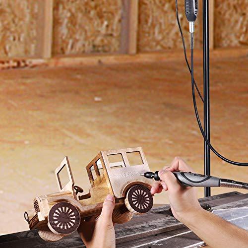 TACKLIFEミニルーター180W6段変速彫刻/削り出し/研磨/切断/切削/汚れ落とし保護カバー&補助ハンドル&最新フレックスシャフト67PCS豊富な付属品ケース付き日本語取扱説明書RTD36AC
