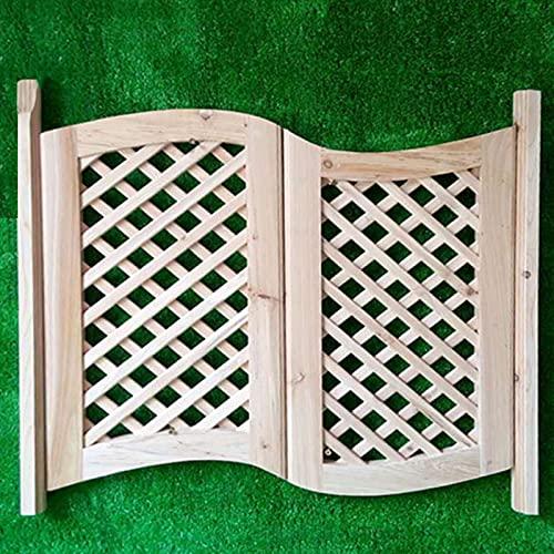 QHW Puertas de Interior de Madera Maciza, Puertas de Madera Originales para Bares y cafeterías, Puertas de Valla Estilo mediterráneo con Cierre automático, Tamaños Personalizables