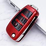 Accessoires de Coque de Couverture de boîtier de clé de Voiture en Fibre de Carbone TPU pour Audi A3 A4 A4L B5 B6 B7 B8 B9 A5 A6 A6L C5 C6 Q3 Q5 Q7 S5 S7 RS3 TT, A, Rouge