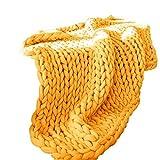 ZWDM Manta De Punto Grueso Bulky Navidad Regalo Tejidas A Mano Fibra De Poliéster Tiro De Cama Decoración del Hogar para Sofá Banco Lavado Fácil (Color : Yellow, Size : 100x120cm)
